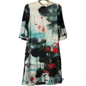 Metisu Oriental Style Silk Printed Dress Size Small